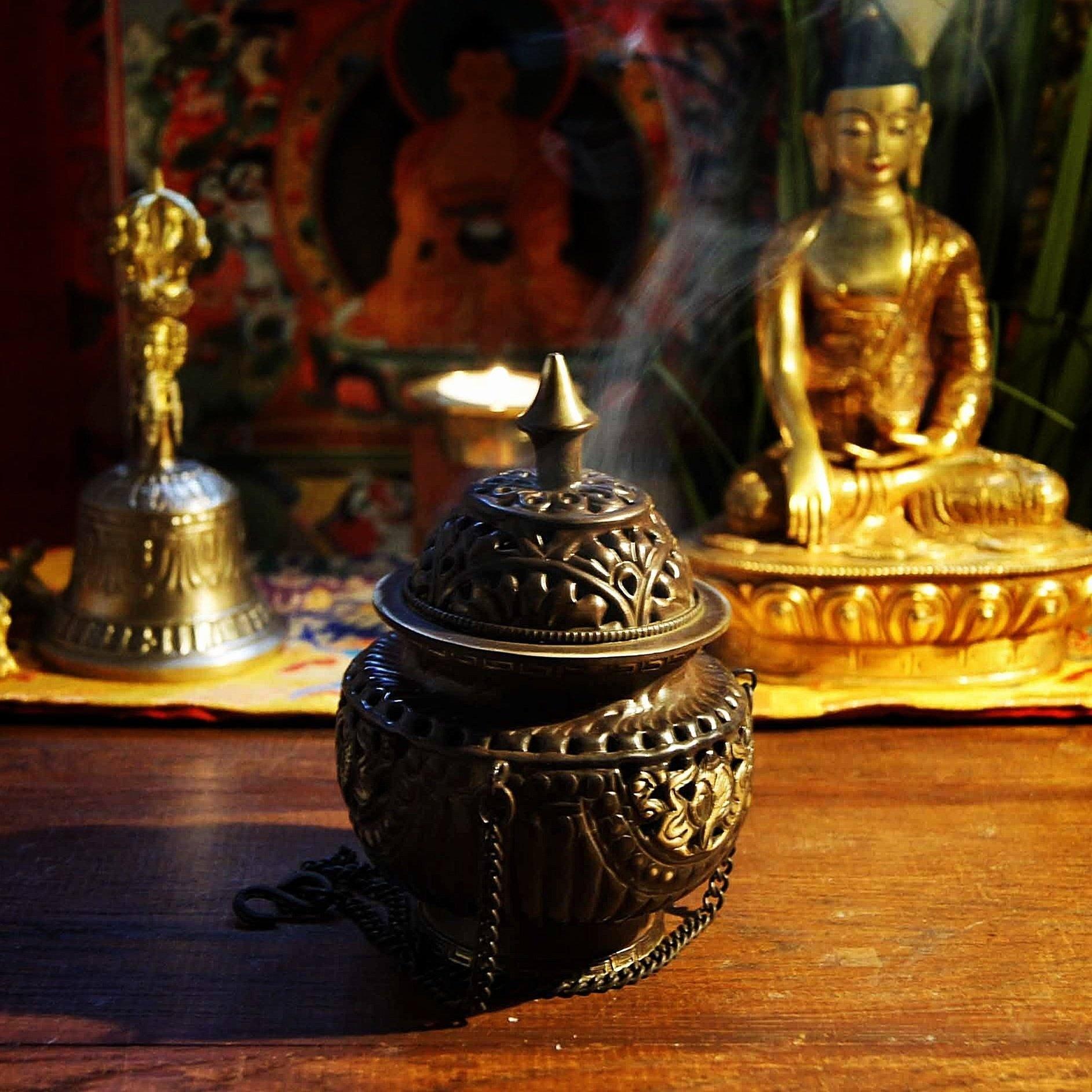 bruleurs bruleur encens tibetain precieux vase grand